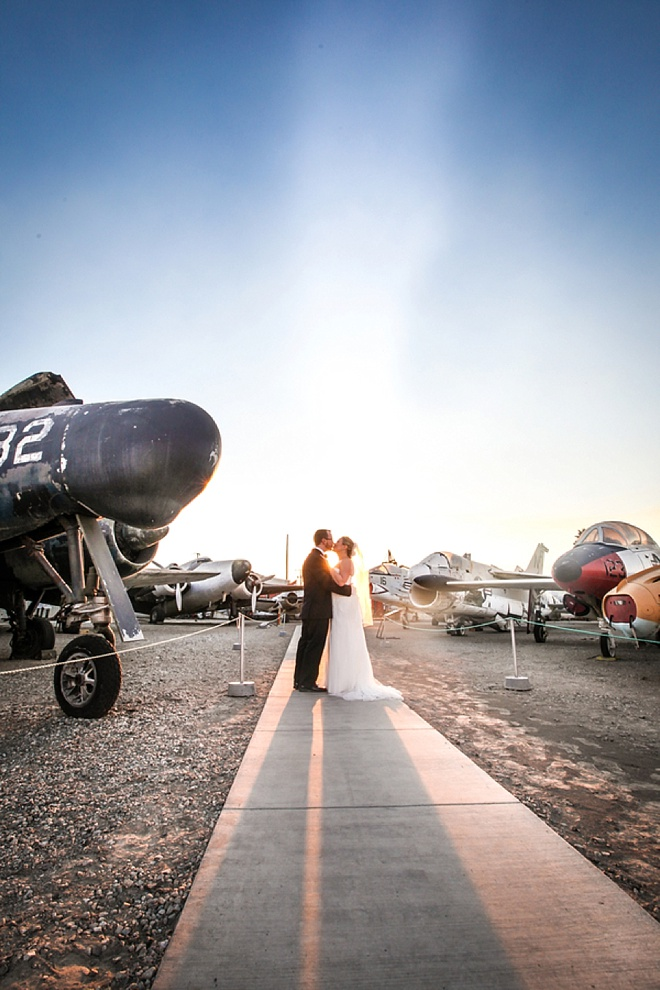 Amazing wedding reception at an airplane museum.