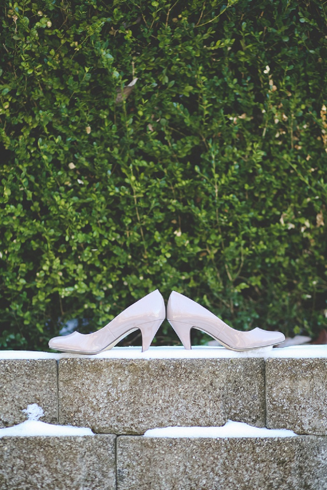 Darling winter wedding shoe detail shot.