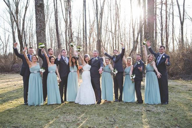 Bridal party at darling DIY winter wedding!