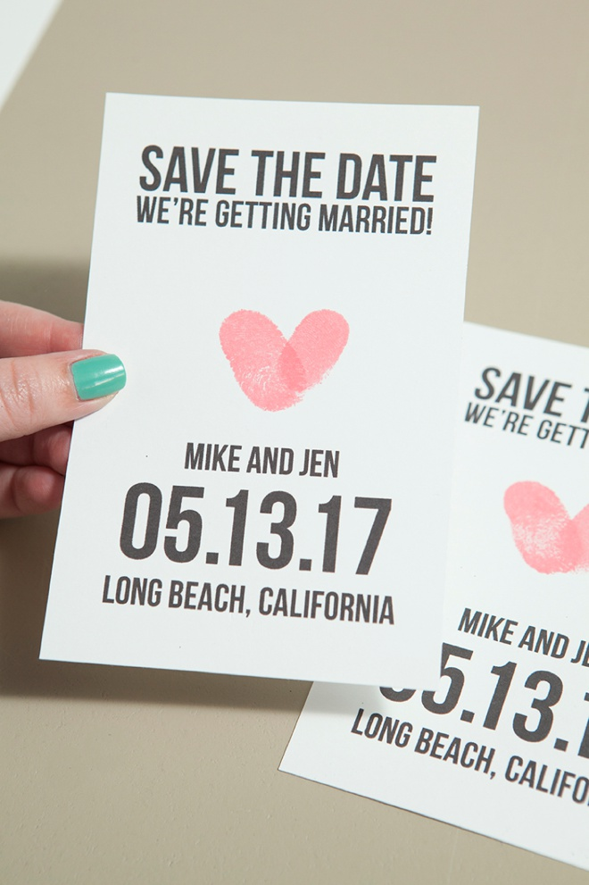 Make your own thumbprint heart save the dates learn how to make your own thumbprint save the dates with our free printables junglespirit Gallery