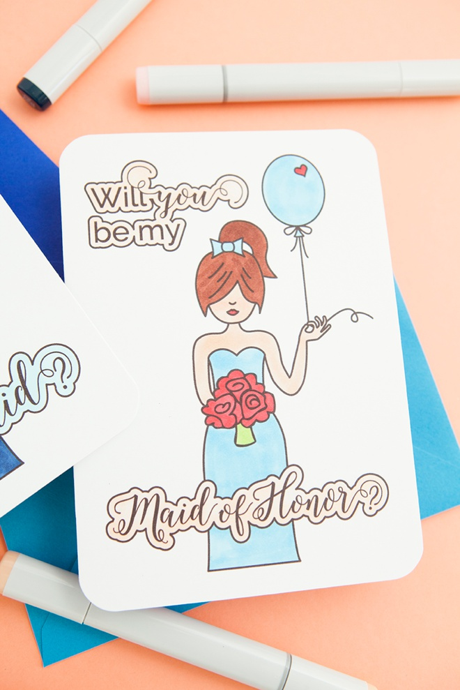 Free printable Will You Be My Maid Of Honor card that you color!