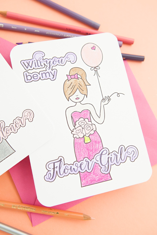 Free printable Will You Be My Flower Girl card that you color!