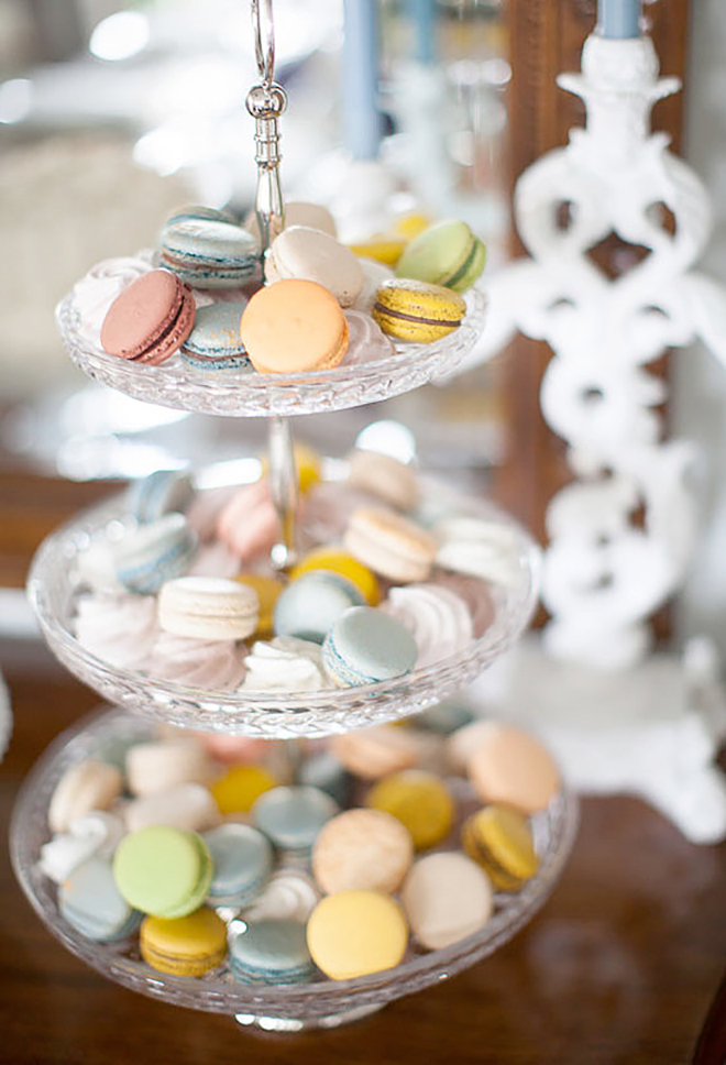 Gorgeous treat display of pretty macaroons