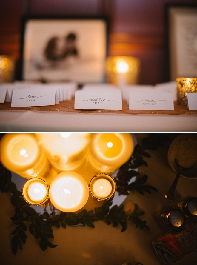Love these table cards and candle lit wedding!