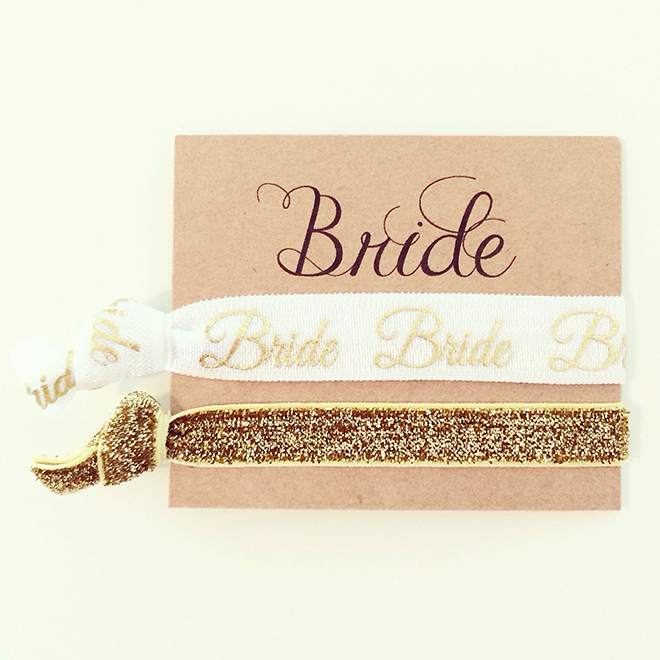 Darling bride hair ties, awesome bride-to-be gift!