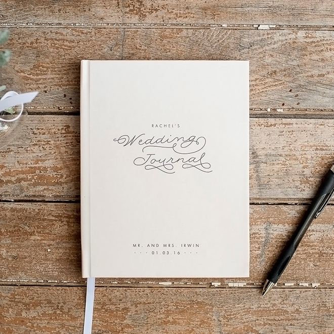 Personalized wedding journal, awesome bride-to-be gift!