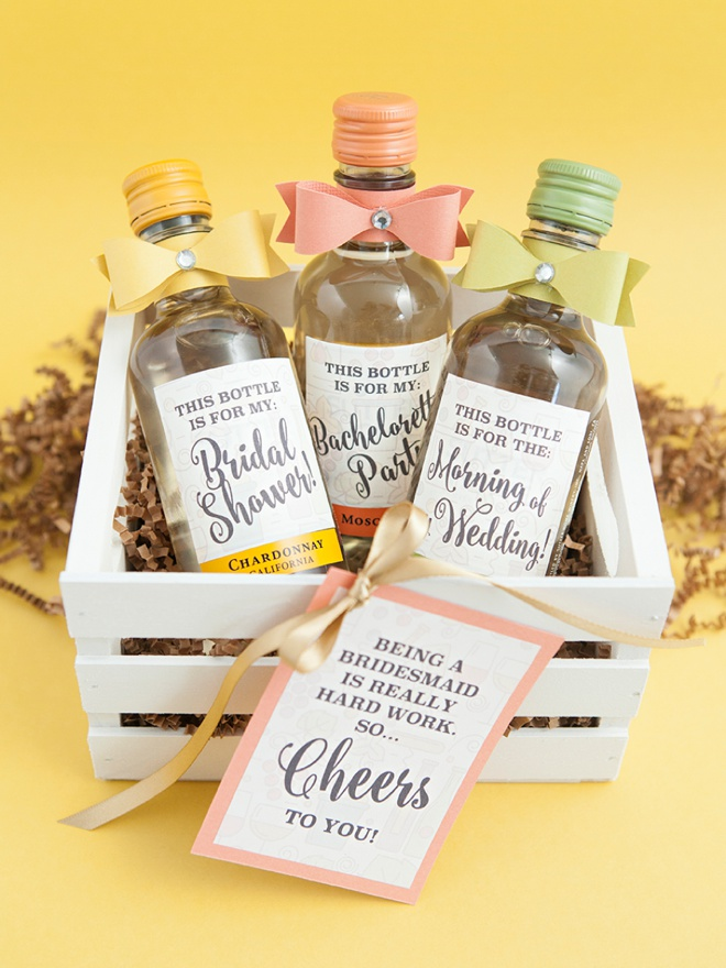 The Most Adorable DIY MiniWine Bottle Bridesmaid Gift Ever