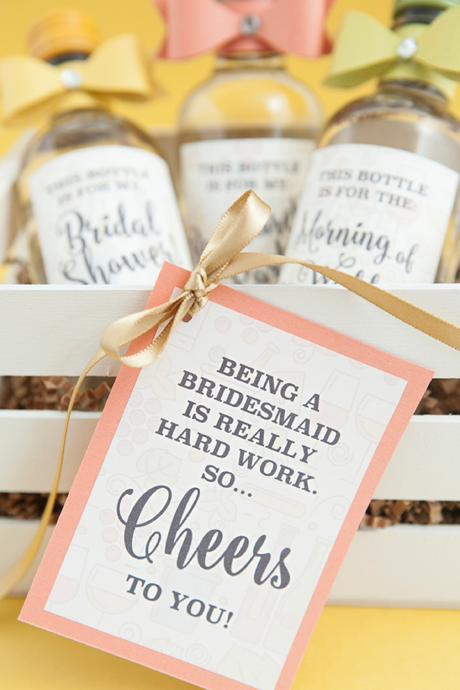 Such a fun idea for a bridesmaid present, mini-wines with funny labels!