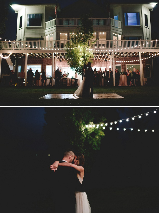 We're LOVING this twinkle lit backyard wedding reception! How gorgeous!