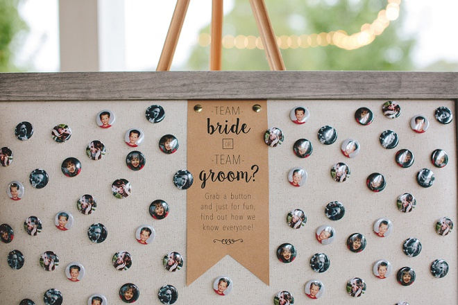 How fun are these team bride and team groom icebreaker buttons? Love!