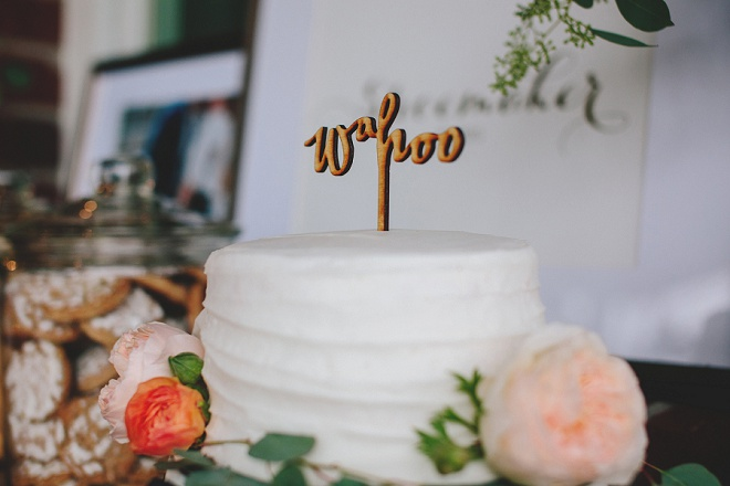 Super cute wedding cut cake with wahoo topper!