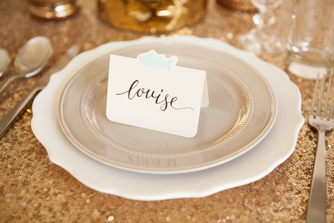 Darling DIY idea for wedding seating cards with each guests choice of entrée!