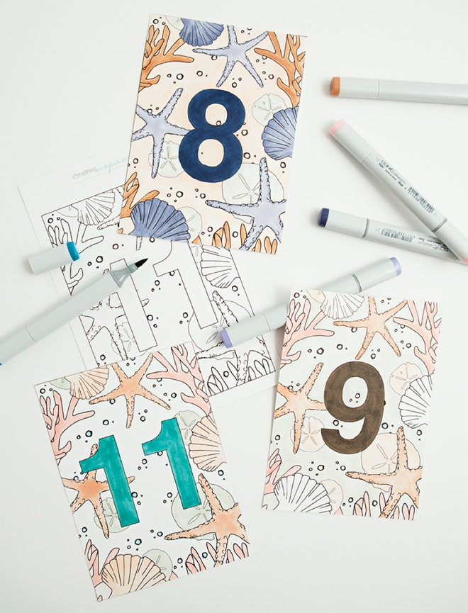 Darling free printable, nautical wedding table numbers that you can color!