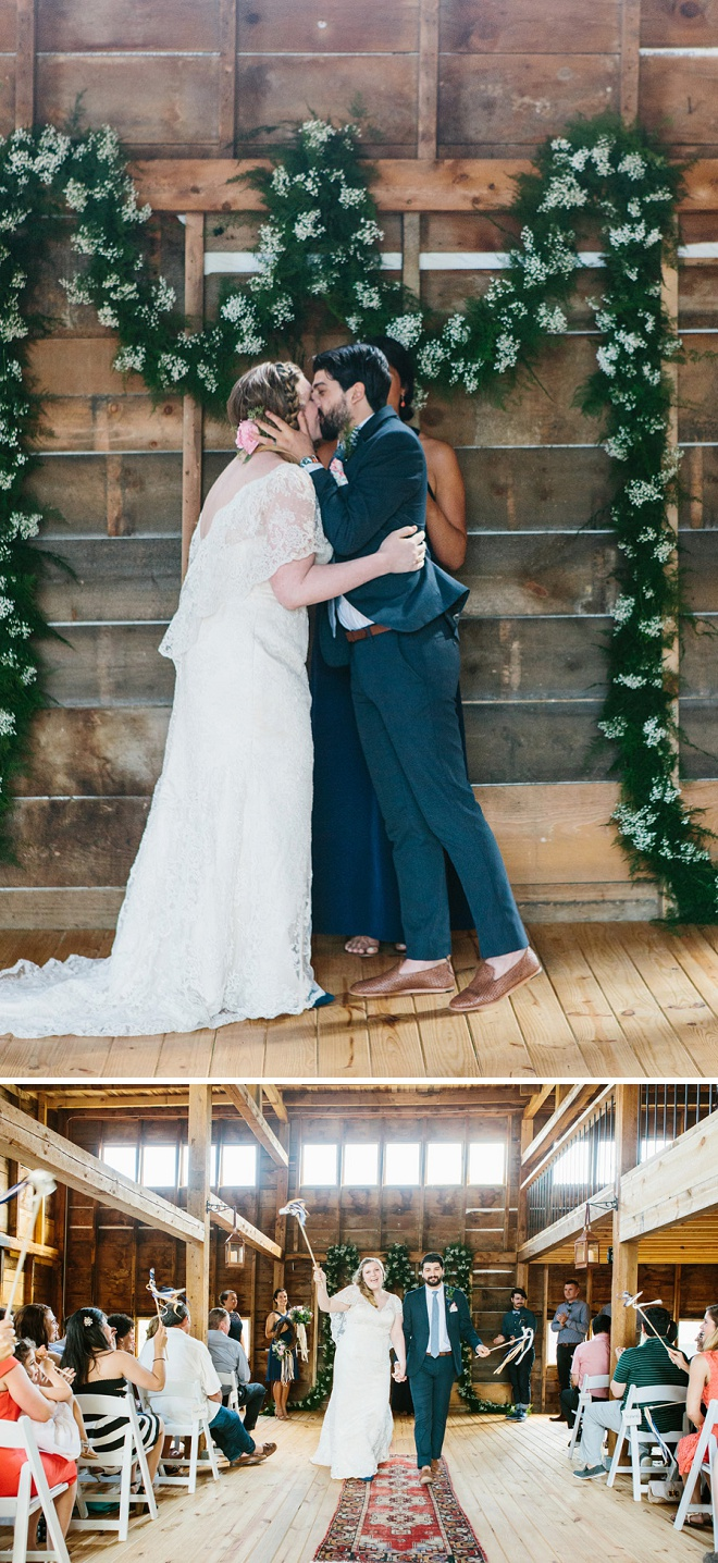 How darling is this highschool sweetheart's gorgeous wedding ceremony! We're loving the garland!
