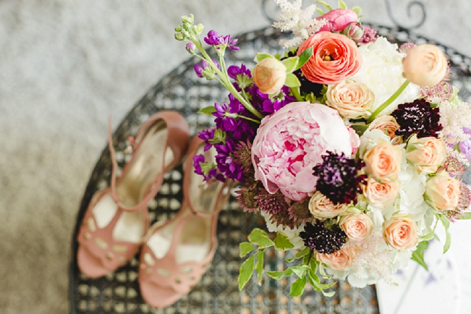 We're loving this Bride's sweet wedding shoes and bright wedding bouquet!