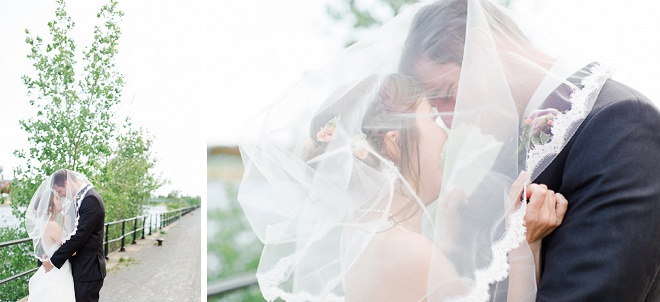 Loving this gorgeous veil shot of this sweet Bride and Groom!