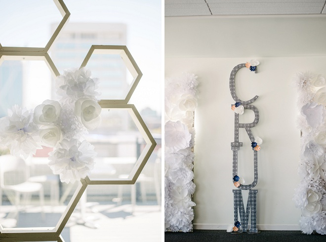 We're loving these geometric DIY details this couple made!