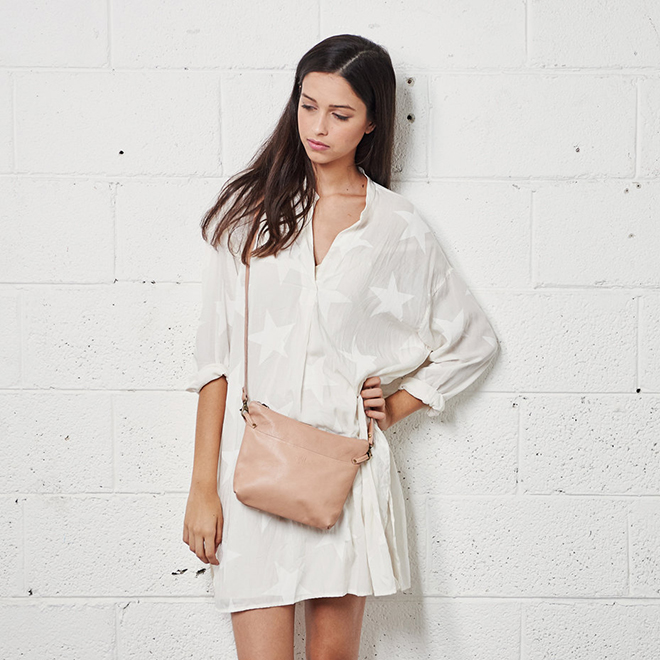 Pink Cross-body leather bag by Cyan By Miri Weiss