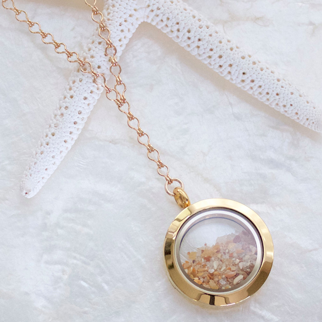 14kt Yellow Gold Fill Sands of Time Fillable Shake Necklace by SSM Design