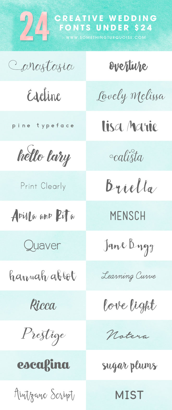 Check out these 24 super cute fonts for under $24  - some are even free!