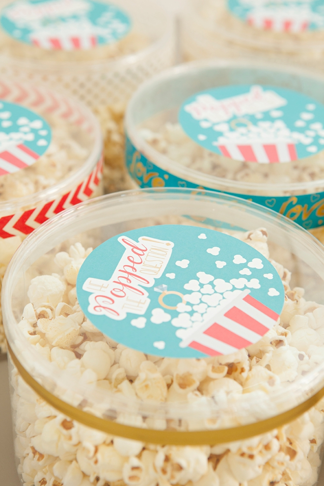 Darling bridal favor idea, He Popped The Question - popcorn favors with free printable labels!