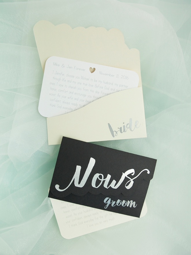 Darling DIY idea for custom wedding vow notebooks!