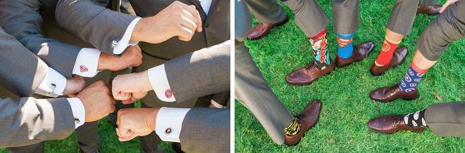 Fun Groom and Groomsmen shot with their fun wedding socks!