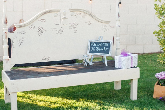 We're loving this unique and gorgeous guest book bench!