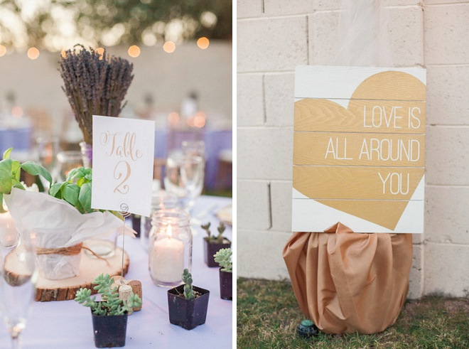 We're loving the gold details and signage at this desert wedding!