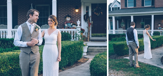 How fun is this reception first look?! The Bride shows off her reception dress to the Groom!