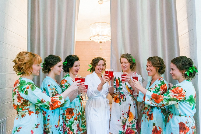 Loving these darling Bridesmaid's and their robes! So cute!