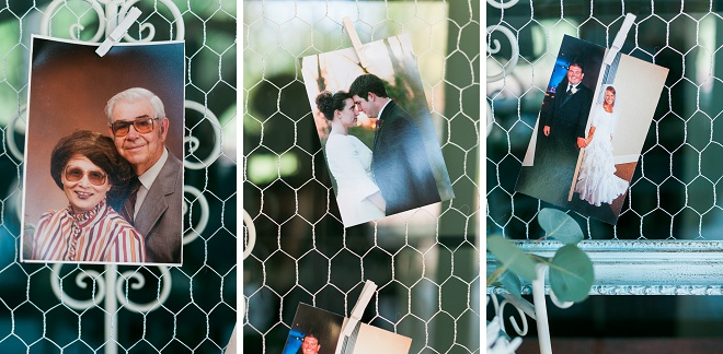 Such a sweet idea to display family wedding photos at your wedding reception!