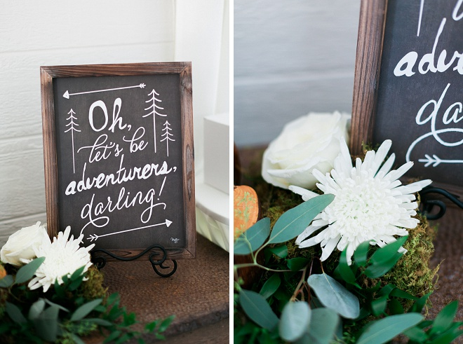 This dreamy hand lettered chalkboard sign is such a darling detail!