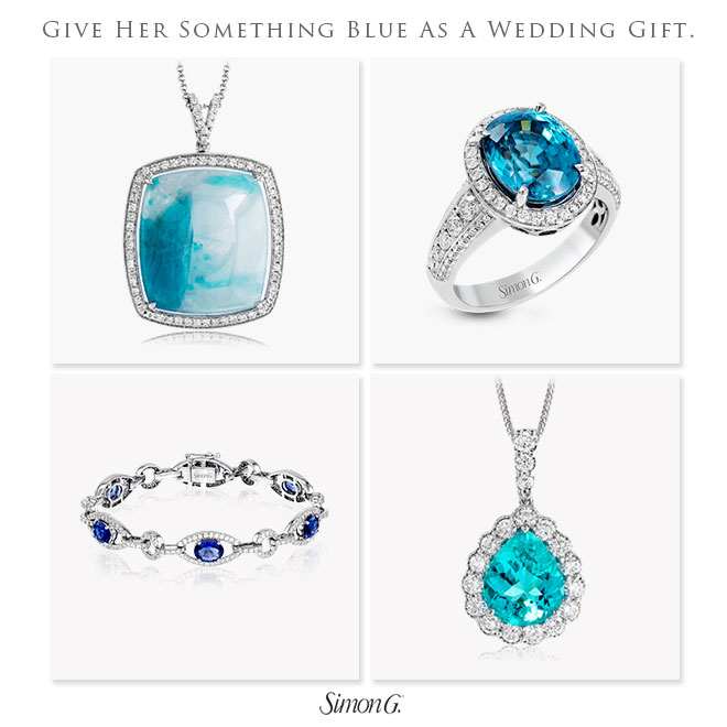 Give her the gift of fine jewelry for your wedding present, like these something blue ideas from Simon G.