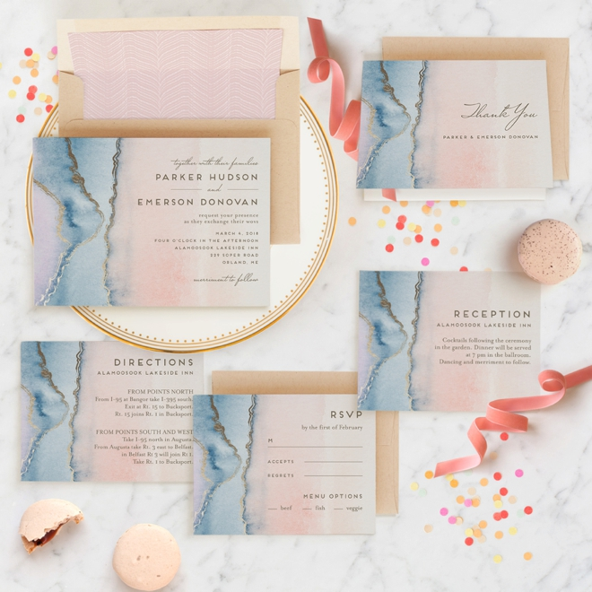 Simple Agate themed wedding invitation suite by Minted in the pantone colors of the year!