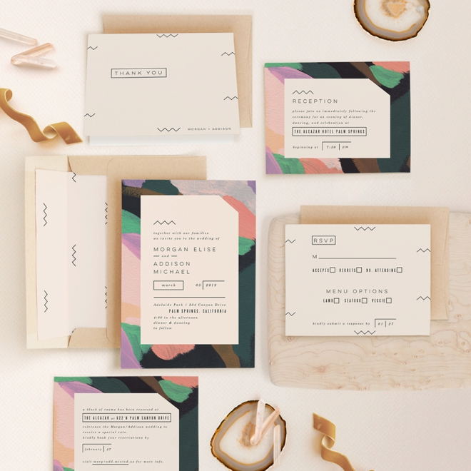 Adagio themed wedding invitation suite from Minted!