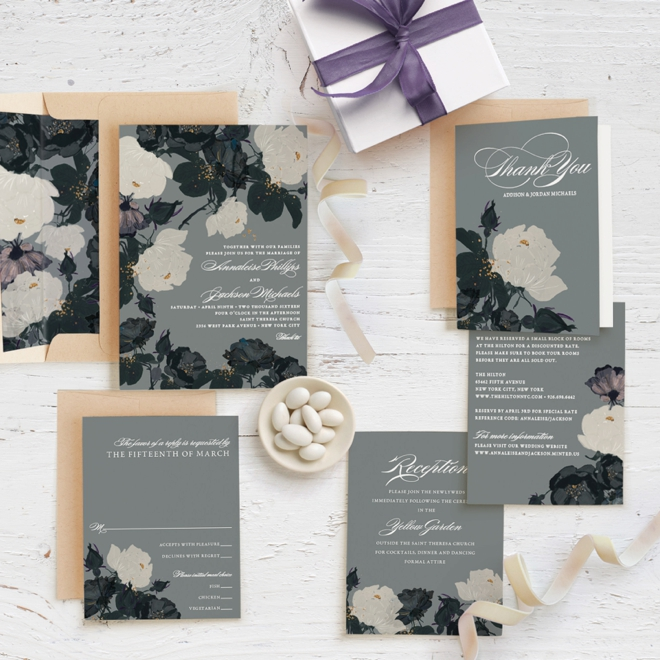 Romanticism themed wedding invitation suite from Minted!