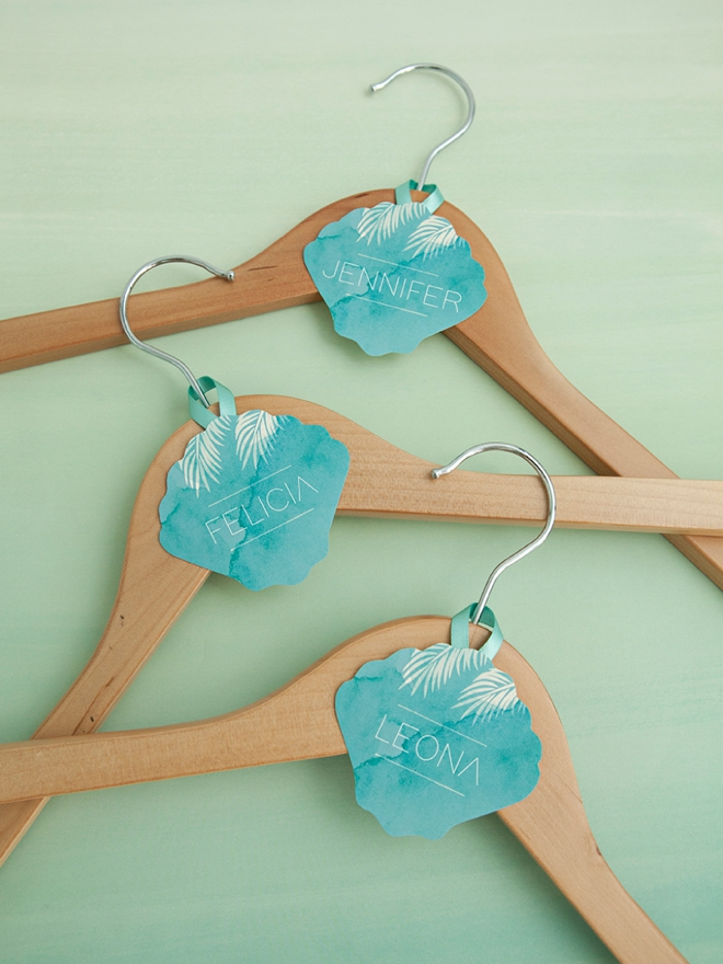 FREE printable and editable bridal party hanger tags in a beach wedding theme!