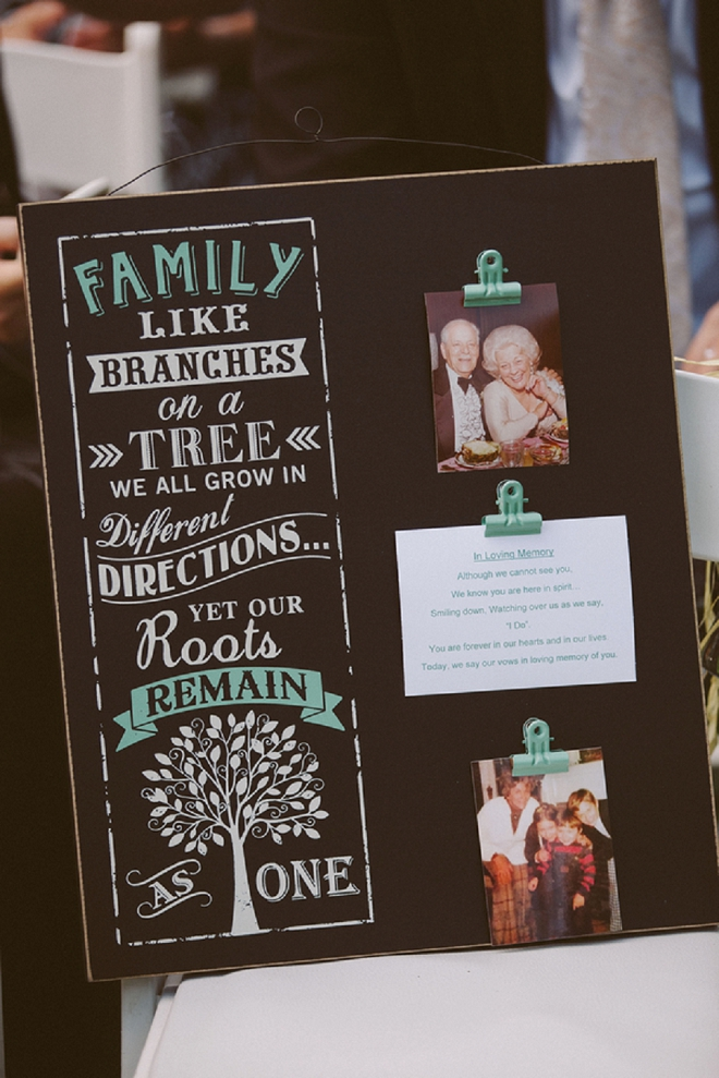 We're loving this family wedding detail at their reception! SO sweet!