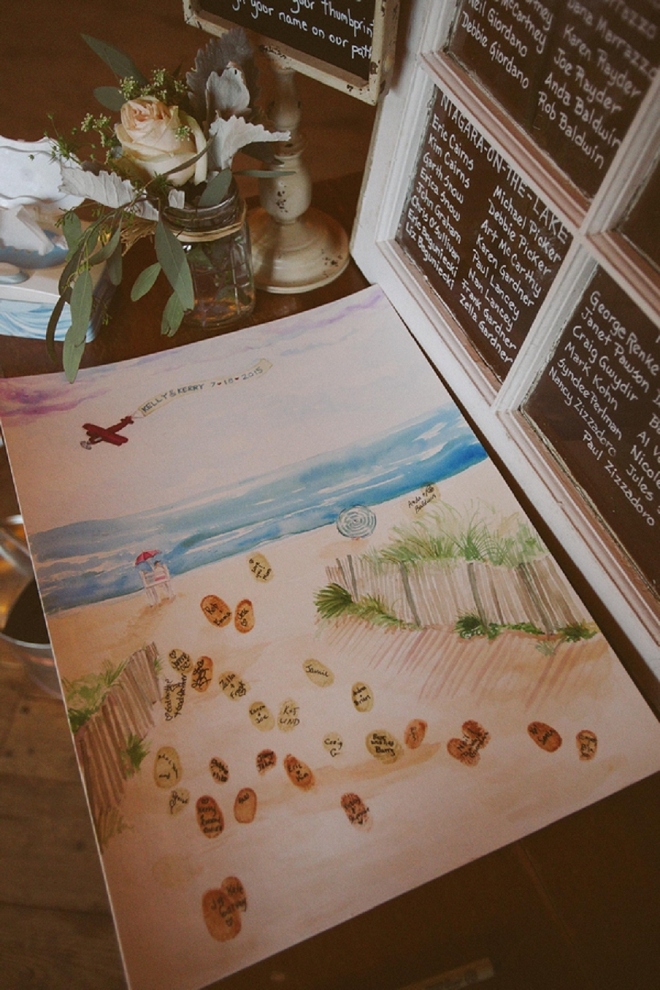 How fun is this thumbprint guest book beach idea? Loving it!