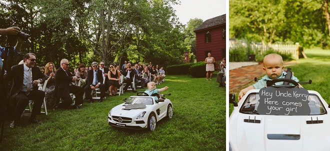 How adorable is this ring bearer and his car?! SO CUTE!!