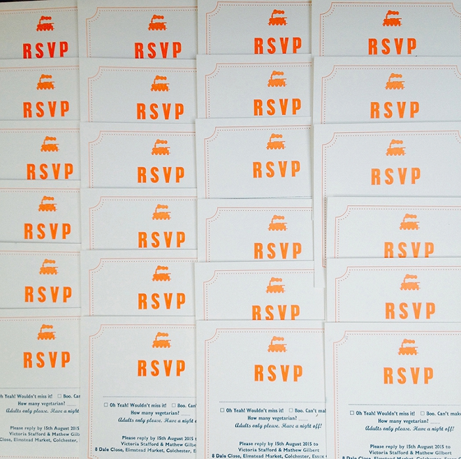 This DIY Bride made her own invitations, RSVP cards and more using a local letterpress! Such a fun DIY idea!