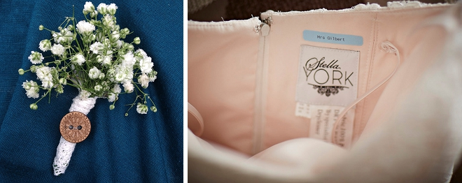 We're loving this Bride's Mrs. something blue sewn into her wedding dress!