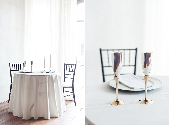 Gorgeous sweetheart table and toasting champagne glasses at this gorgeous DIY loft wedding!