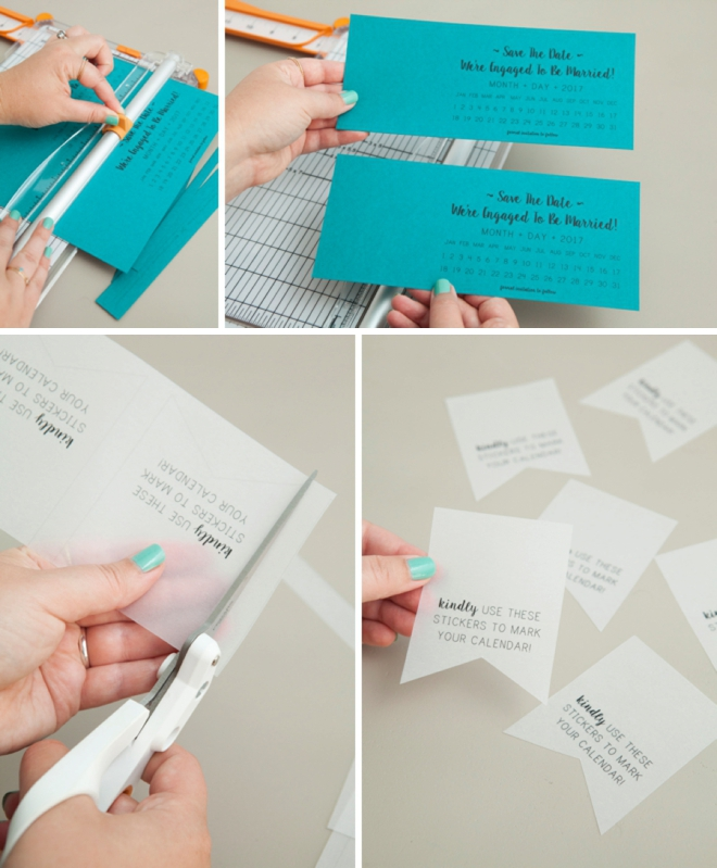 Make your own darling Save the Date invitations with mini-stickers for your guests to mark their calendars with!