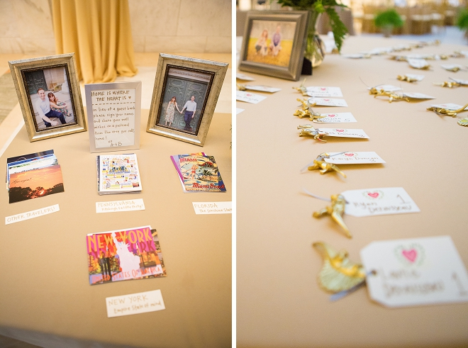 The family photos and gold animal escort cards are adorable at this museum reception!