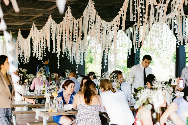 We're loving this couple's relaxed reception and their BBQ feast!