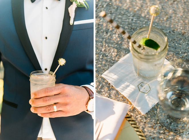Loving this fun shot of the Groom and their signature drink!