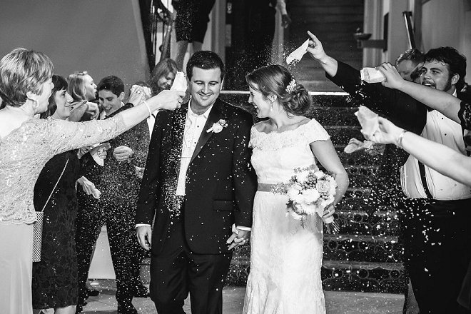 We love this super sweet couple's exit photo!