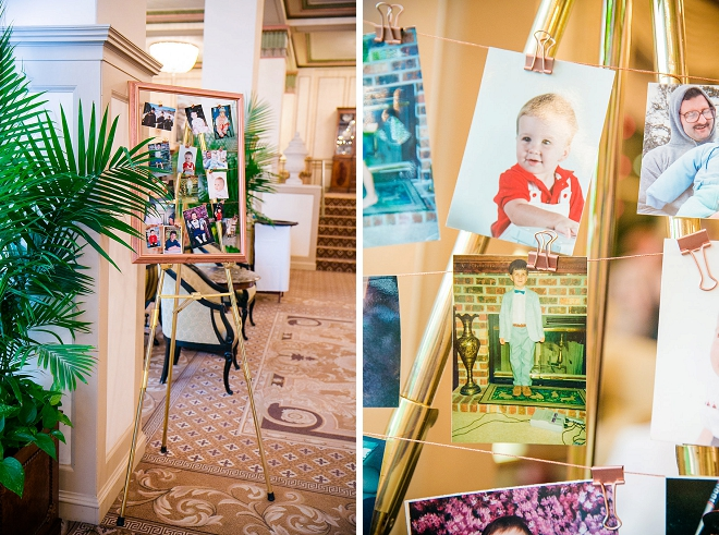 We love this fun couple's childhood photos at their reception! Fun!